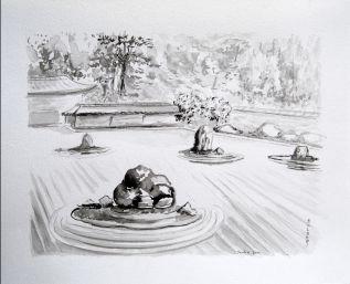 Jardin japonais dessin - Bisounours tout curieux ...